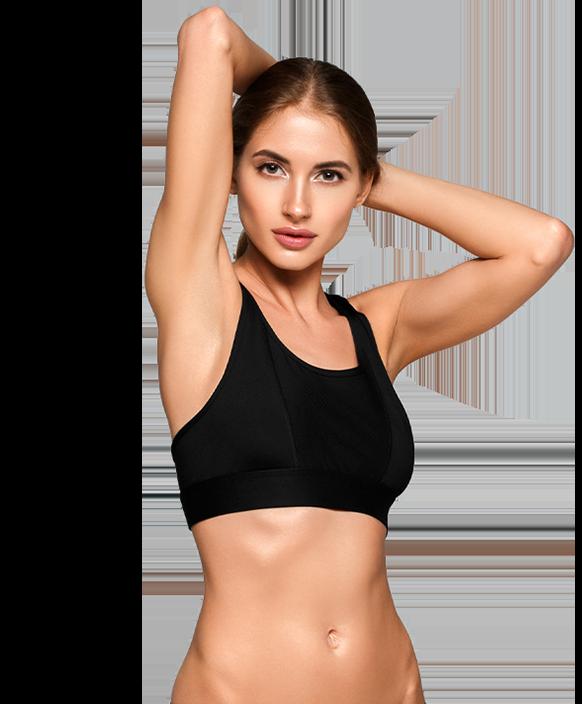 Woman in sports bra stretching