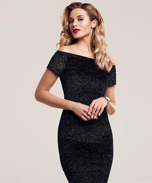 stock photo: woman in long black dress