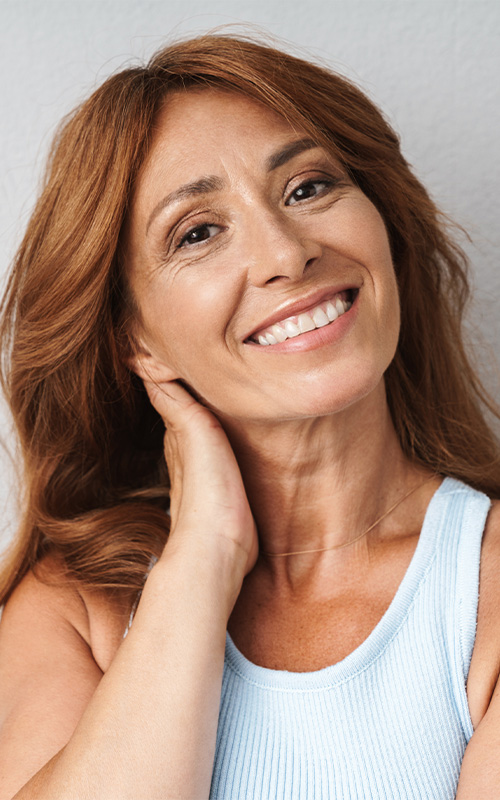 stock photo: woman smiling in white t-shirt